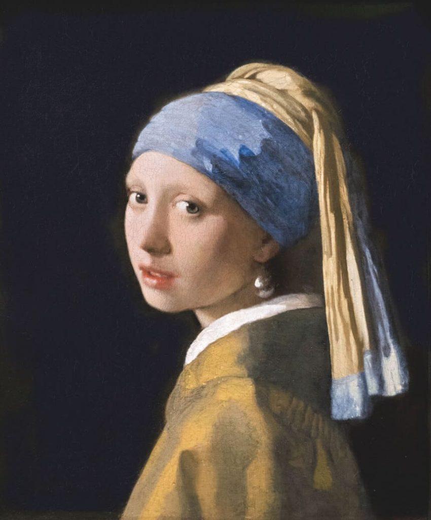 Flicka med pärlörhänge målad av Johannes Vermeer