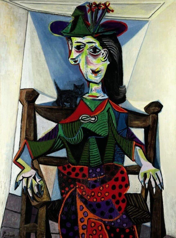 Dora Maar au Chat målad av Pablo Picasso