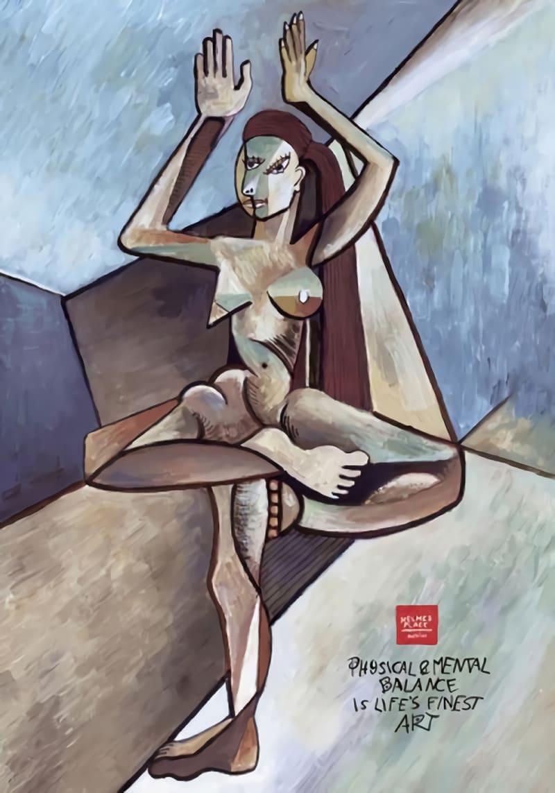 En Picasso-lookalike för att främja yoga